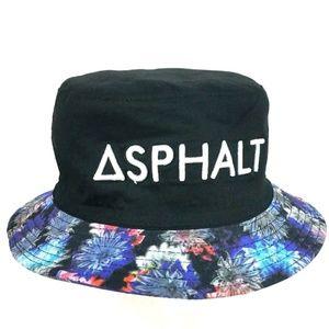 Asphalt floral/black bucket reversible hat